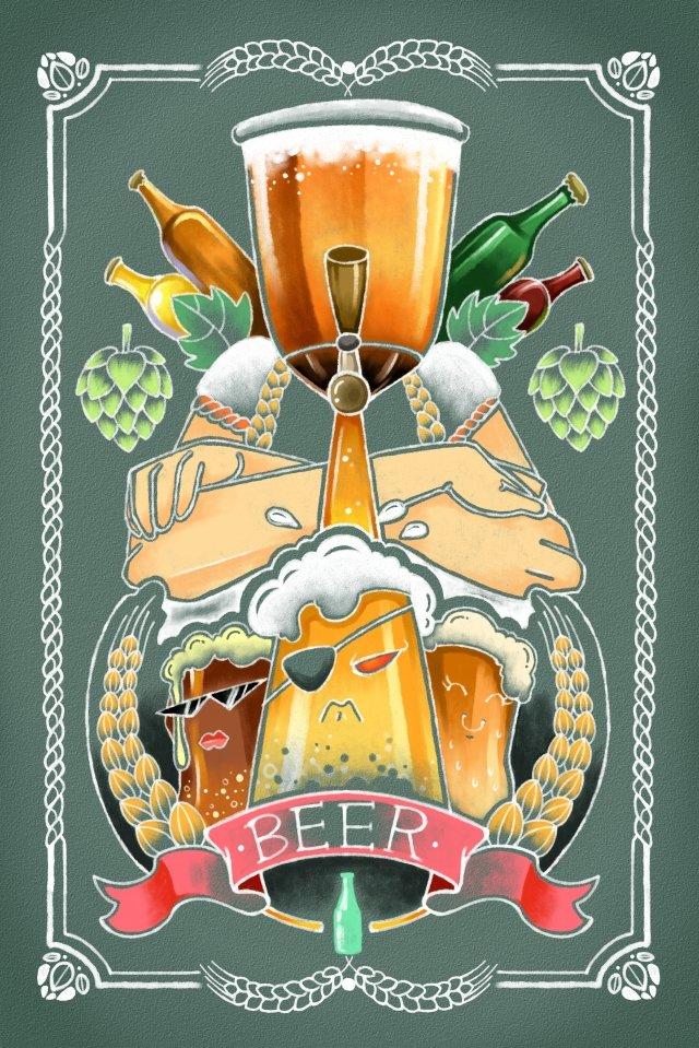 ビール小麦黄色いリボン イラストレーション画像