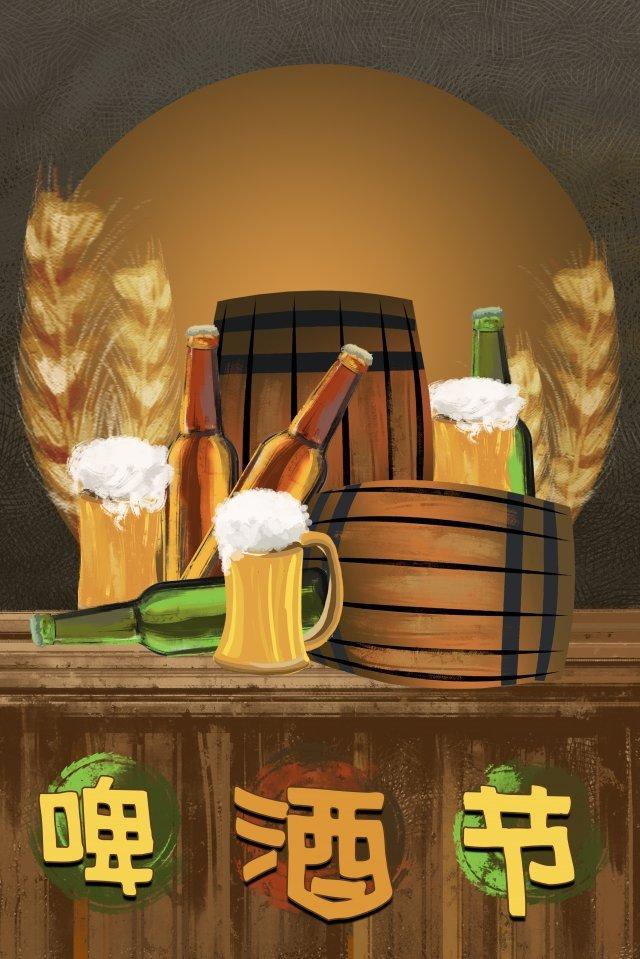ビールワイン樽ビール祭りワインボトル イラストレーション画像