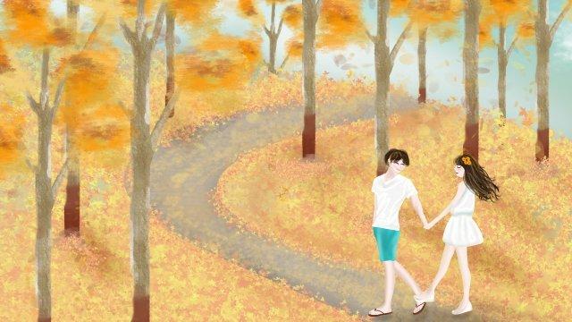 Liqiu cặp đôi du lịch vẽ tay minh họa tươi Li Qiu Mùa thu MùaLịch  Tour  Vàng PNG Và PSD illustration image