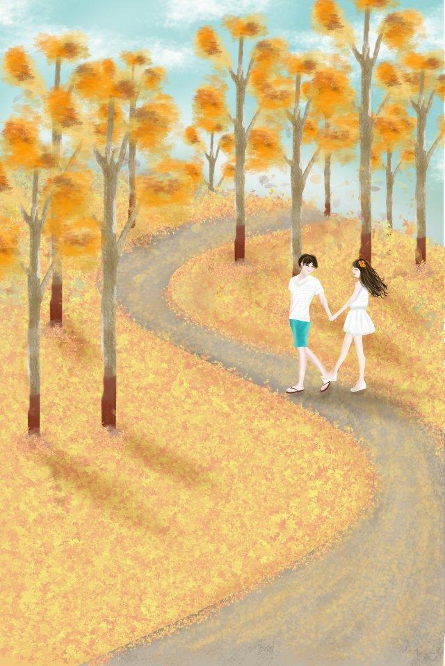 beginning of autumn autumnal fall golden autumn, Yellow Background, Couple, Tourism illustration image