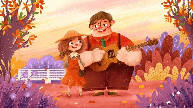 bắt đầu của mùa thu cặp đôi vẽ minh họa mùa thu poster Hình minh họa Hình minh họa