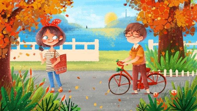 bắt đầu của mùa thu cặp đôi vẽ minh họa mùa thu poster Hình minh họa