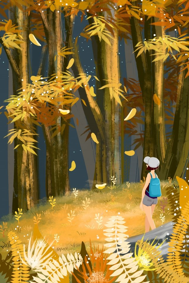 beginning of autumn fall autumnal autumn landscape, Girl, Lin Zhong, Jungle illustration image