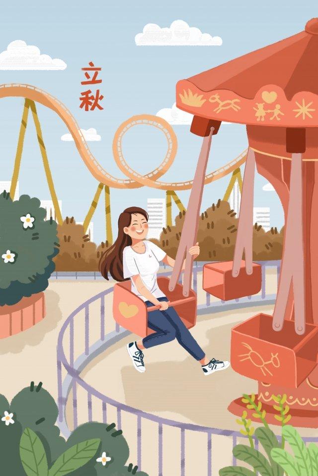 Cô bé vẽ tay minh họa tải về trong Công viên giải trí Liqiu Li Qiu Mùa thu MùaQiu  Mùa  Thu PNG Và PSD illustration image