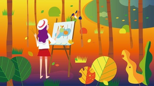 bắt đầu mùa thu mùa thu lá cam Hình minh họa