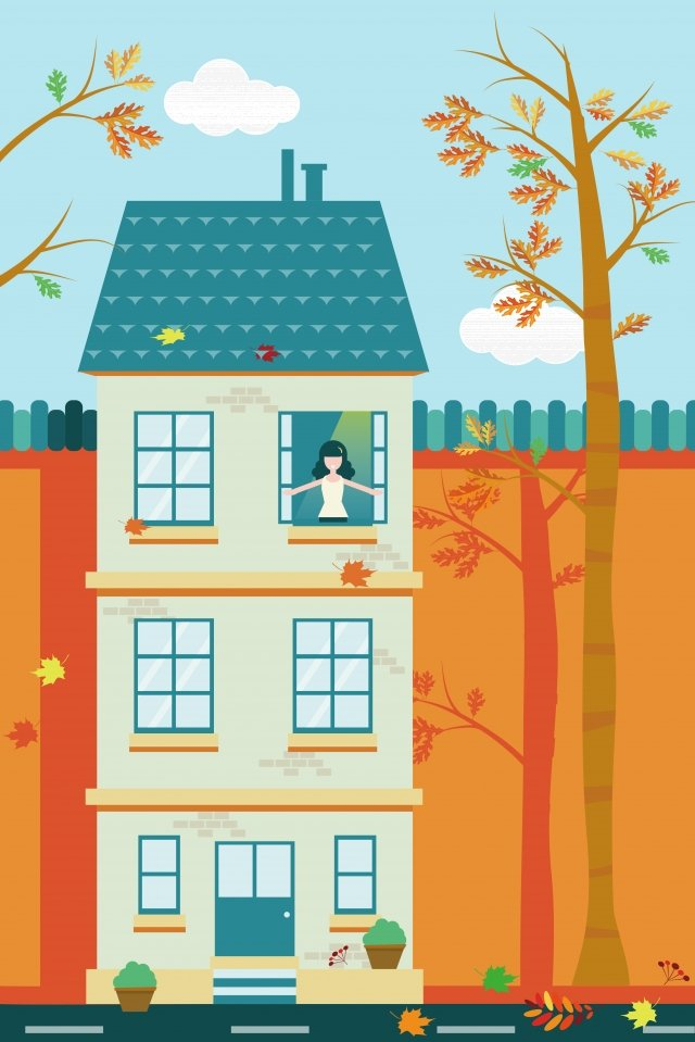 beginning of autumn fall fallen leaves orange, Yellow, Green, House illustration image