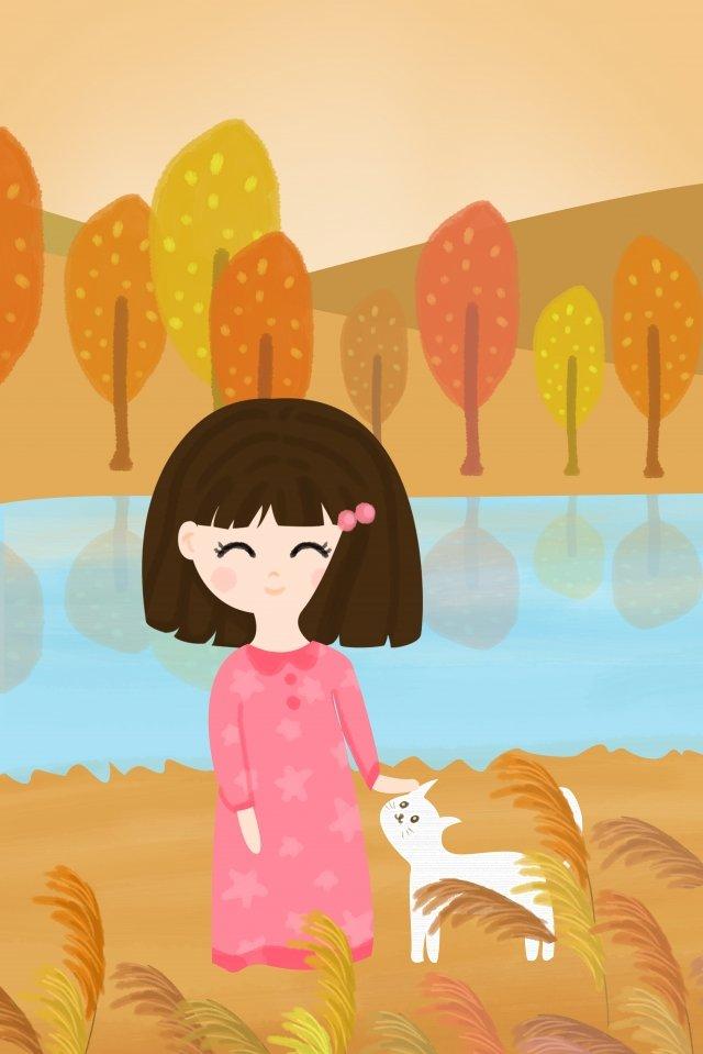 秋秋女の子小麦の穂の始まり イラスト素材