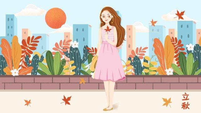 Vẽ tay mùa thu cô gái cầm lá phong minh họa tải về Li Qiu Mùa thu ThuậtPhong  Nhà  Mặt PNG Và PSD illustration image