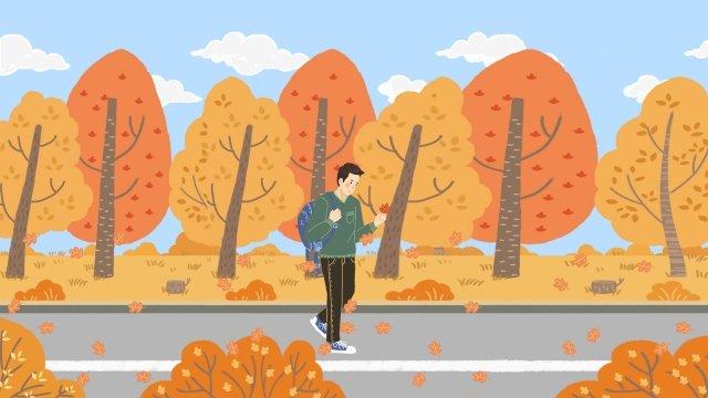 Vẽ tay minh họa của một cậu bé với lá mùa thu Li Qiu Mùa thu Vàng LáTrắng  Cây  Minh PNG Và PSD illustration image