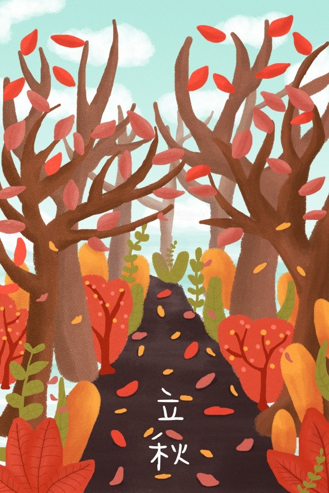 beginning of autumn fallen leaves warm color yellow llustration image