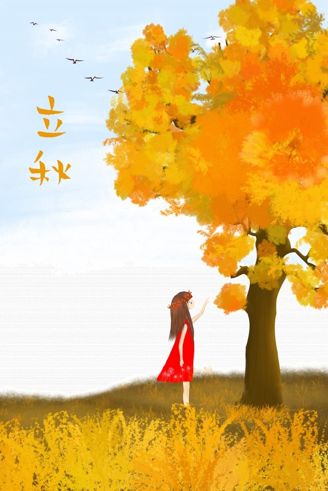 beginning of autumn forest girl fantasy scene illustration image