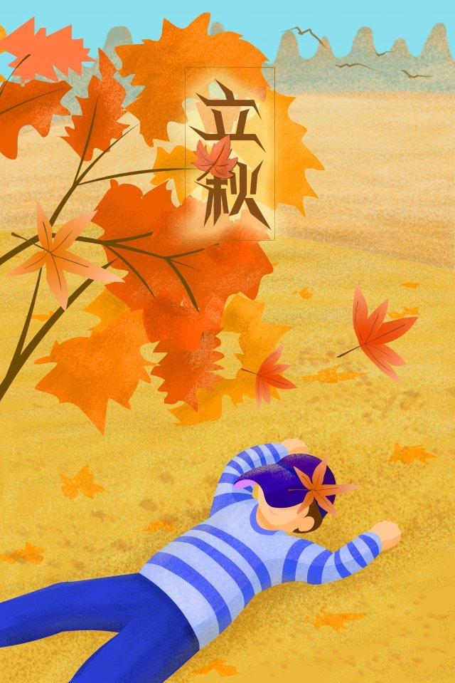 秋天的草原男孩躺在草地上的開始 插畫圖片