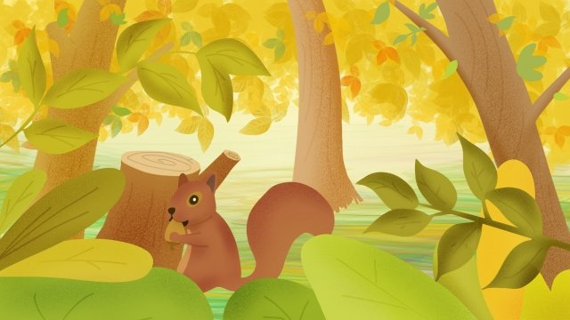 beginning of autumn hand painted squirrel fallen leaves, Forest, Fall, Harvest illustration image