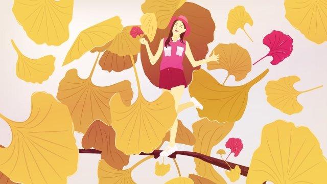 bắt đầu mùa thu đáng yêu hai mươi bốn thuật ngữ năng lượng mặt trời ginkgo biloba Hình minh họa Hình minh họa
