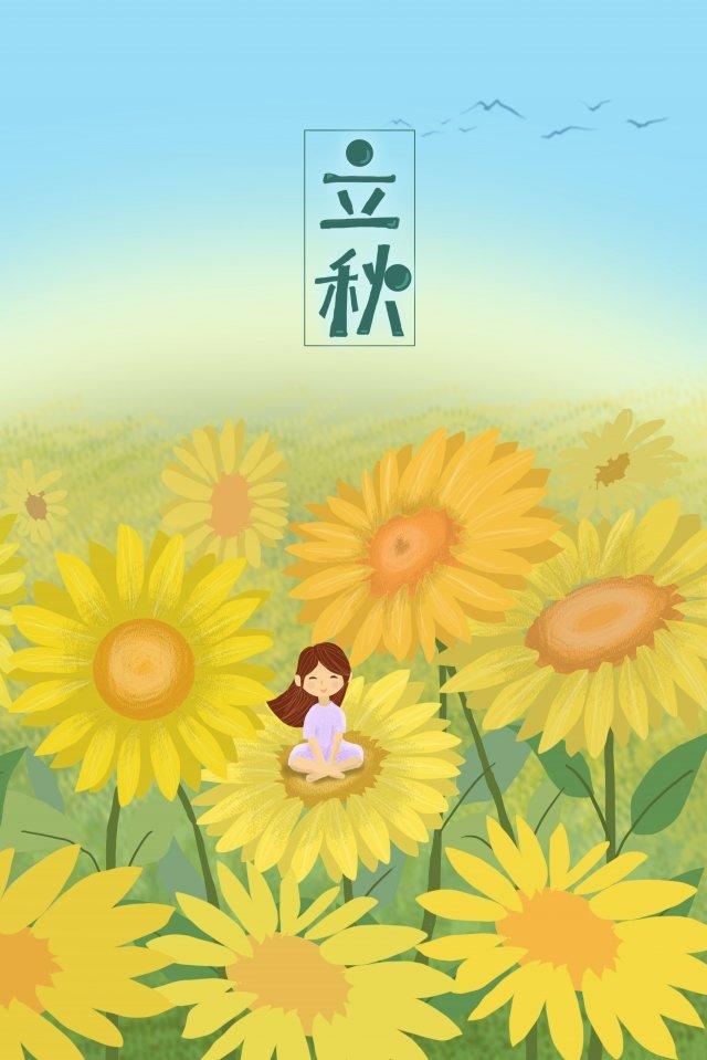 शरद ऋतु सूरजमुखी लड़की फूल की शुरुआत चित्रण छवि चित्रण छवि