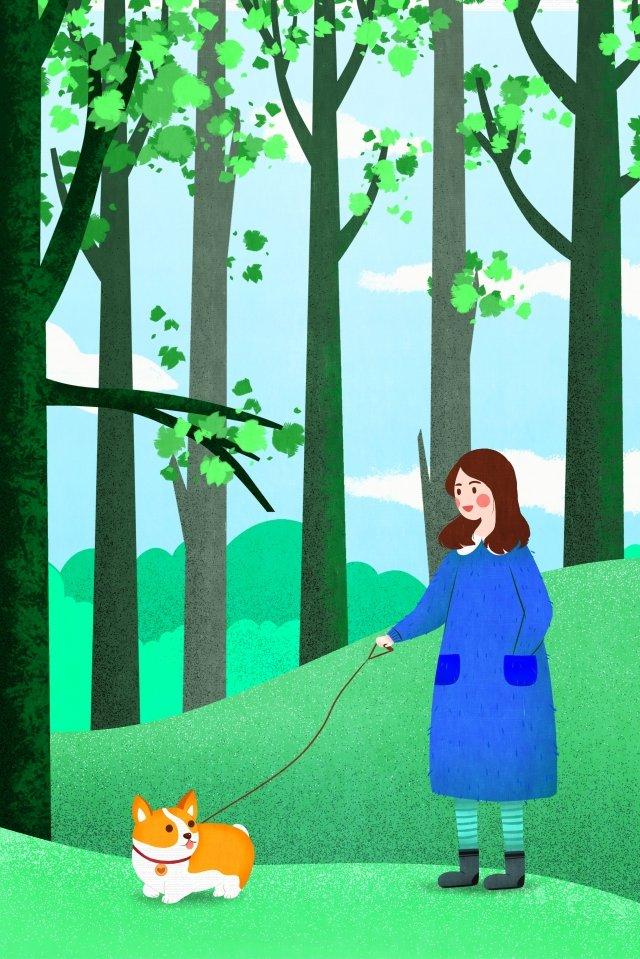 beginning of spring forest walking the dog green, Beginning Of Spring, Forest, Walking The Dog illustration image