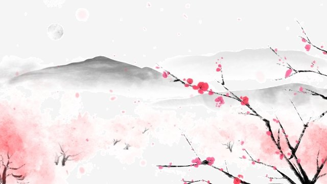 beginning of spring ink painting traditional chinese painting landscape, Peach Blossom, Painting, Pink illustration image