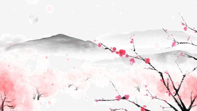 वसंत स्याही चित्रकला की शुरुआत पारंपरिक चीनी चित्रकला परिदृश्य चित्रण छवि