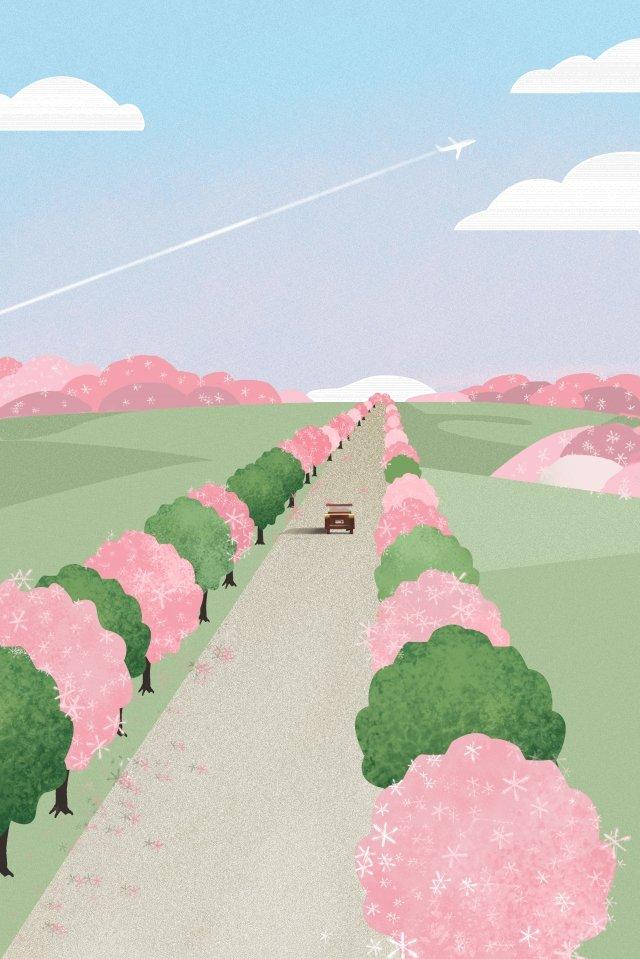 春天的外出景觀優雅 插畫素材 插畫圖片