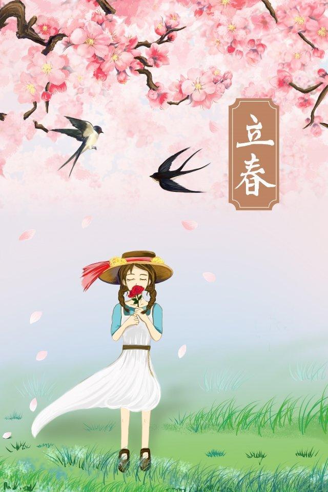 春の桃の花ツバメの女の子の始まり イラスト素材