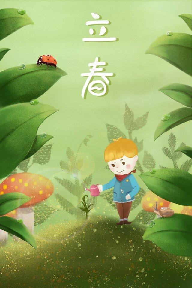 春の始まり木に水をまく イラストレーション画像 イラスト画像
