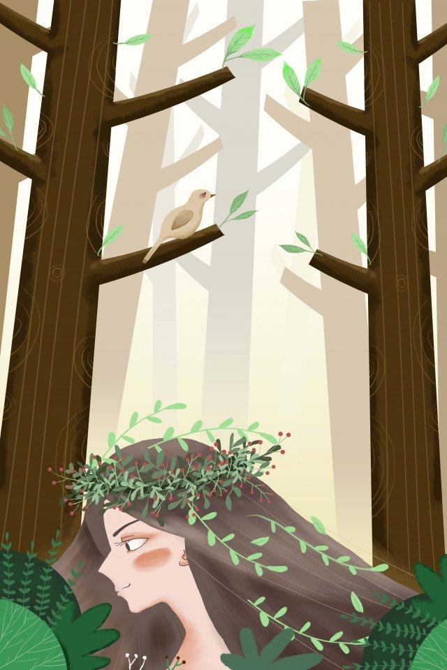 春天太陽能術語女孩風景的開始 插畫素材 插畫圖片