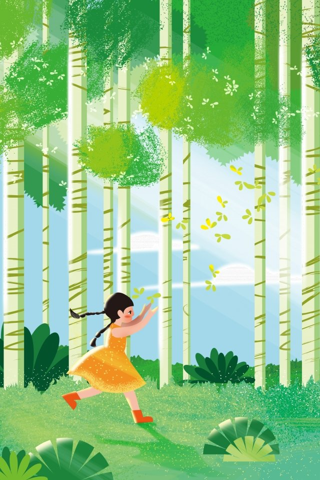 春春の森の少女の始まり イラスト素材 イラスト画像
