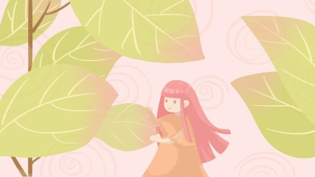 春春の緑の十代の少女の始まり イラスト素材 イラスト画像