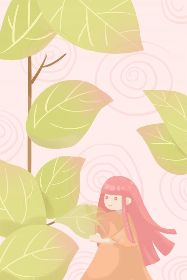 春春の緑の十代の少女の始まり イラスト素材