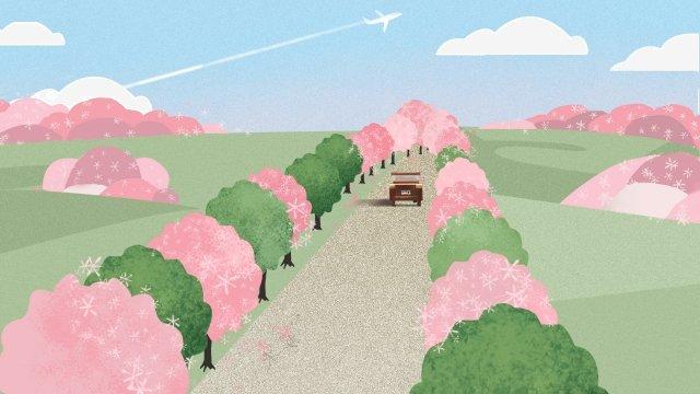 春の始まり春ツアー風景風景エレガント イラスト素材