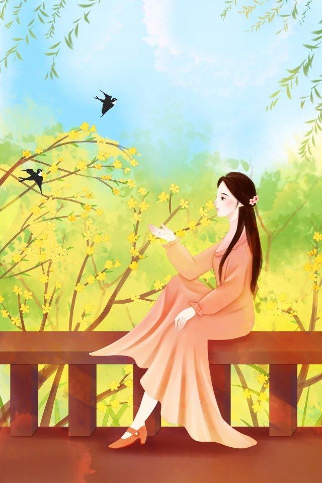 春の始まり十代の少女冬ジャスミン春 イラスト素材