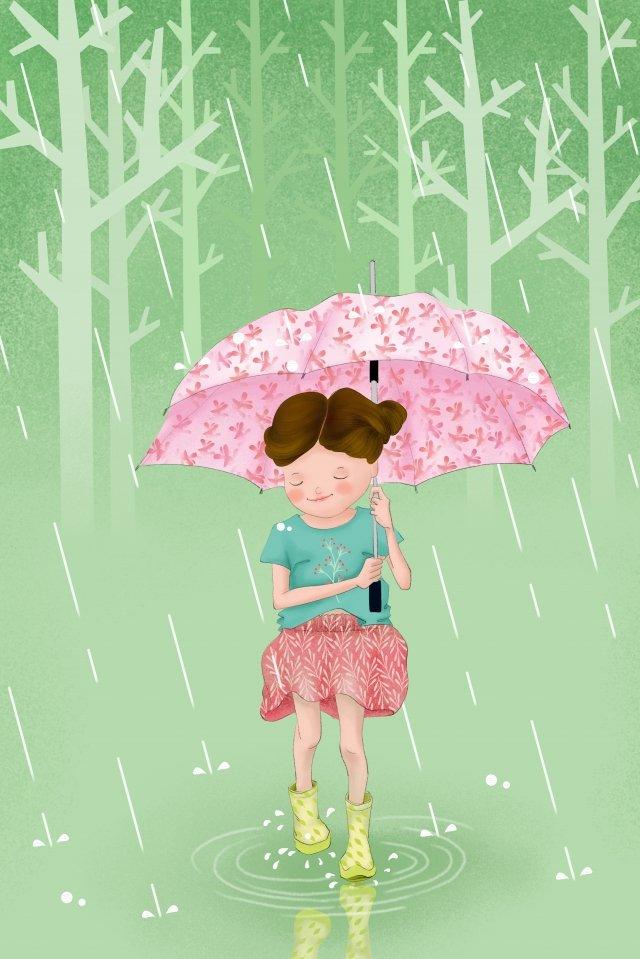 夏雨傘の女の子の始まり イラストレーション画像