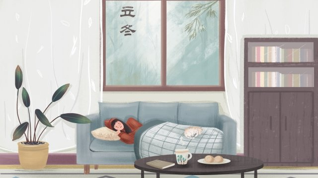 beginning of winter home coffee bread, Solar Terms, Character, Leisure illustration image