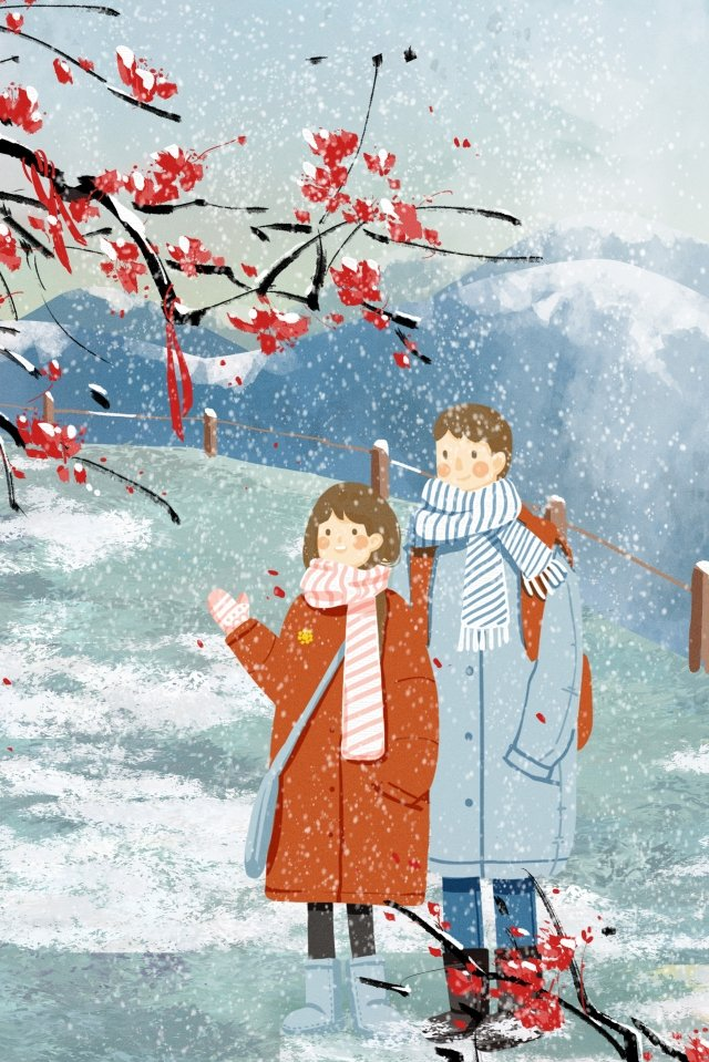 beginning of winter light snow heavy snow plum blossom llustration image