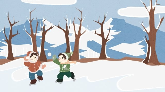 beginning of winter snow scene snowing white, Simple, Hand Painted, Illustration illustration image