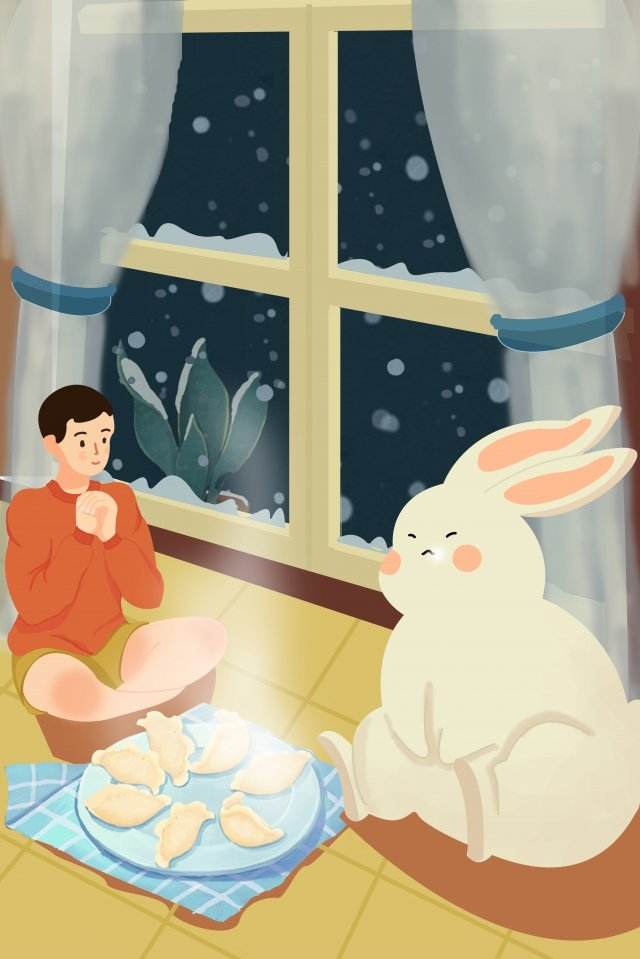 beginning of winter snowing eat dumplings snow appreciation llustration image