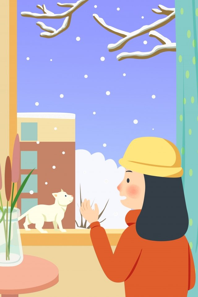 beginning of winter snowy day winter girl llustration image