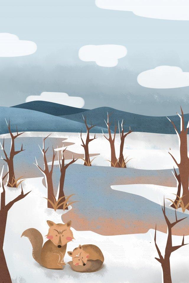 beginning of winter winter animal cold, Snow, Hand Painted, Beginning Of Winter illustration image