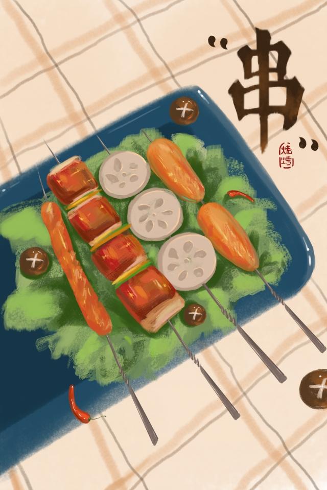 beige stripes barbecue food 撸string llustration image