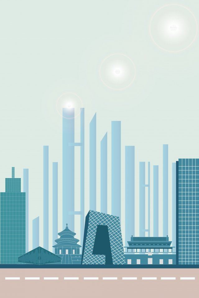 beijing city building illustration, Landmark, City ​​landmark, Beijing Landmark illustration image