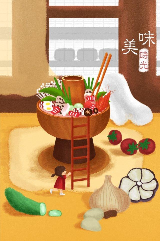 베이징 음식 식품 성분 삽화 소재