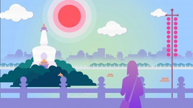 北京北海公園白塔 插畫素材