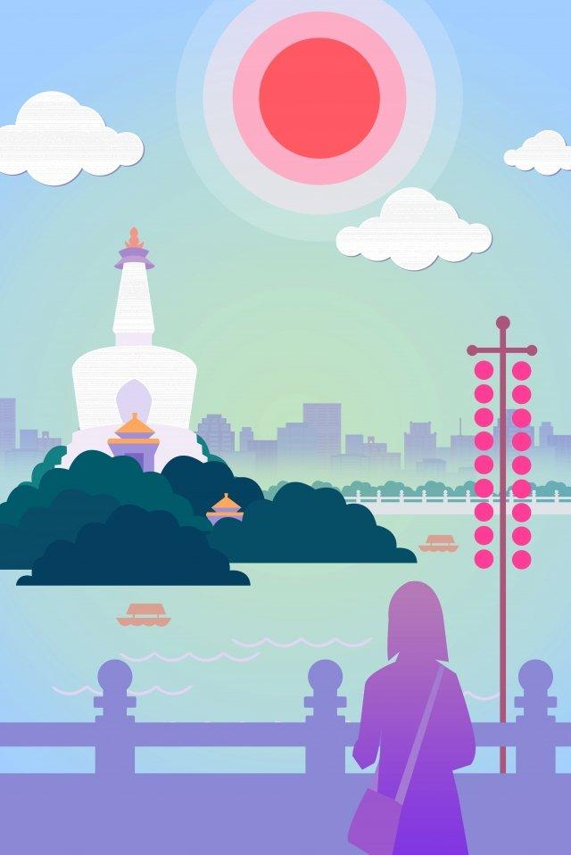 beijing north sea park white tower llustration image