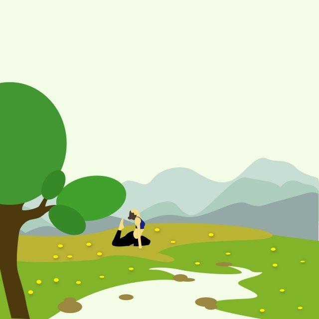 big tree yoga fresh air, Grassland, Flower, Far Mountain illustration image