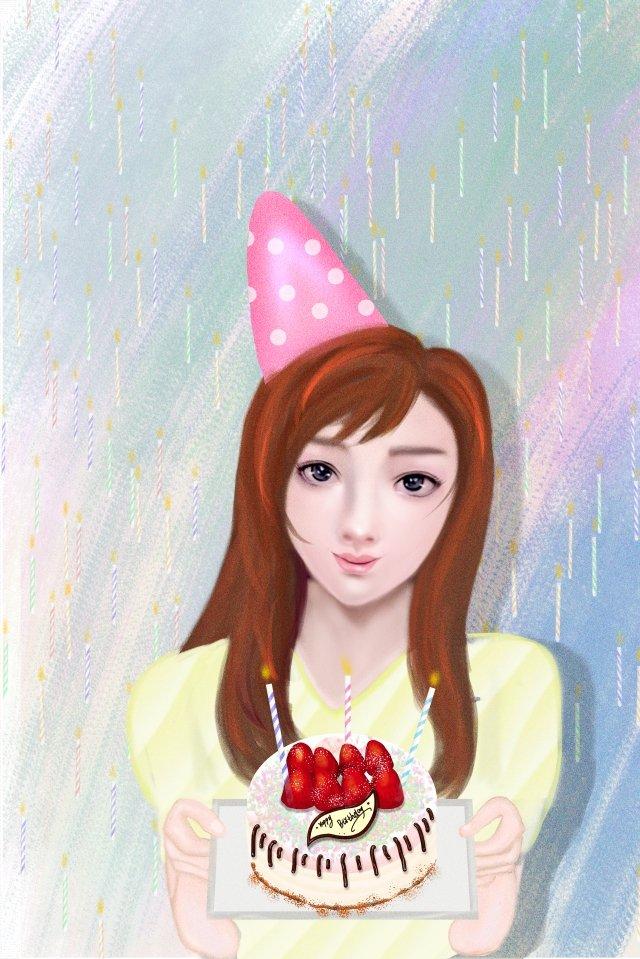 美女過生日插畫海報 過生日 生日蛋糕 女生過生日 蠟燭 蛋糕 手繪美女 生日派對 生日禮物過生日  生日蛋糕  女生過生日PNG和PSD圖片素材 illustration image