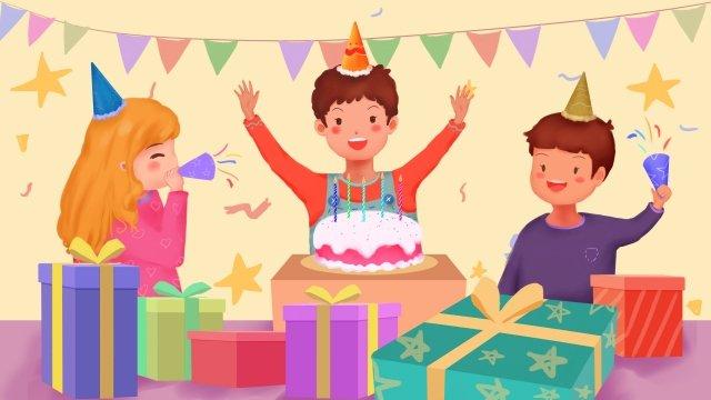 生日快樂卡生日派對蛋糕 插畫素材