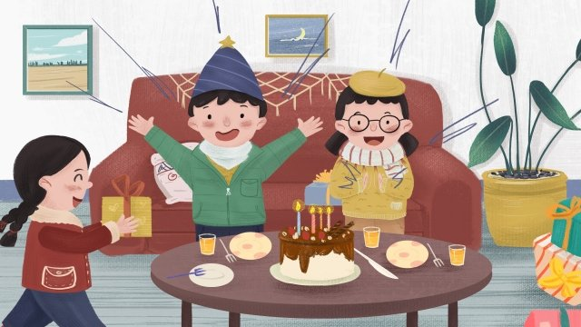 sinh nhật bé trai nhân vật Hình minh họa