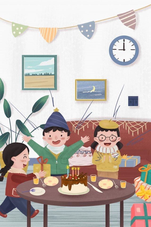 生日主題大家一起過生日手繪 生日 男孩 女孩 人物 蛋糕 沙發 植物 禮物生日主題大家一起過生日手繪  生日  男孩PNG和PSD圖片素材 illustration image