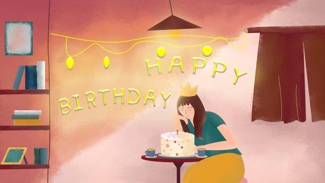 家庭生活過生日手繪插畫 過生日 蛋糕 氣球 彩燈 紅色系 復古 插畫家庭生活過生日手繪插畫  過生日  蛋糕PNG和PSD圖片素材 illustration image