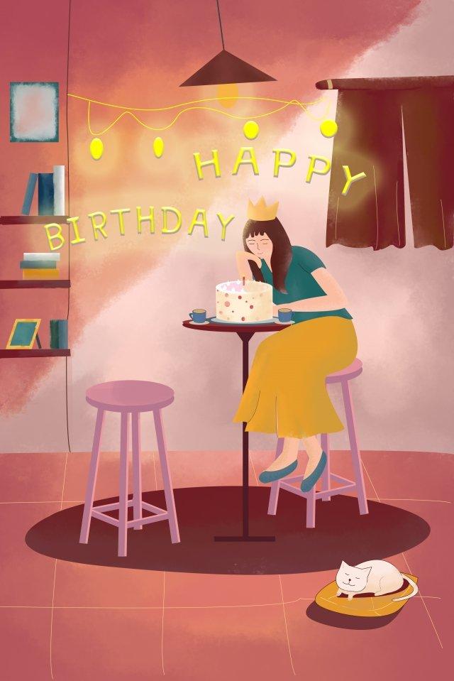 家庭生活過生日手繪插畫 過生日 蛋糕 氣球 彩燈 紅色系 復古 插畫過生日  蛋糕  氣球PNG和PSD圖片素材 插圖圖像